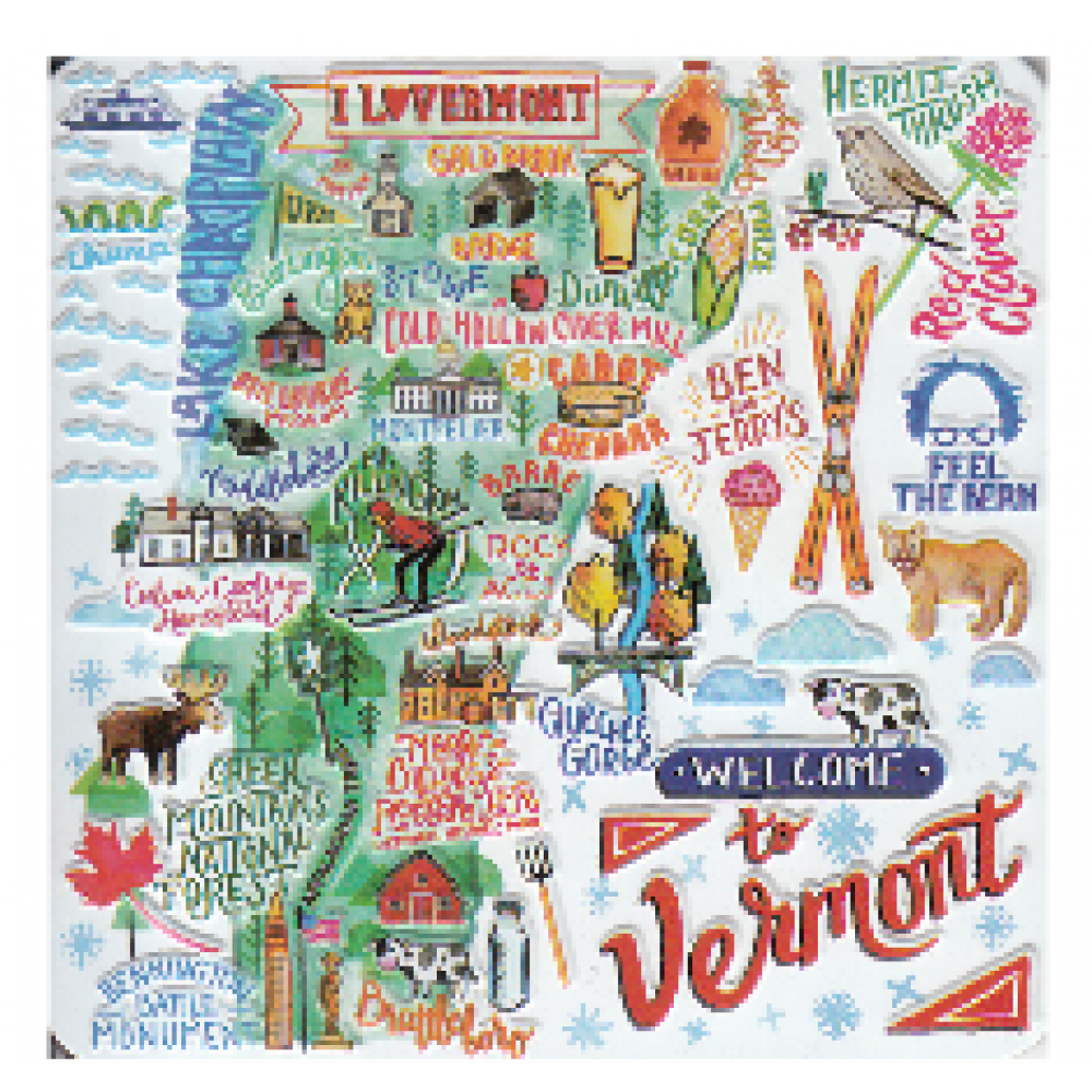 Magnet Vermont State with Welcome to VT