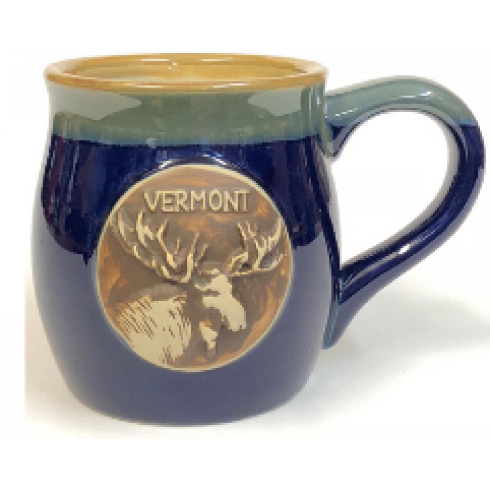 Mug Round Blue and Green Moose emblem