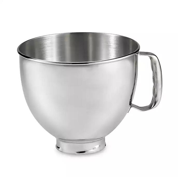 5 QT. BOWL, POLISHED STAINLESS STEEL WITH COMFORTABLE HANDLE