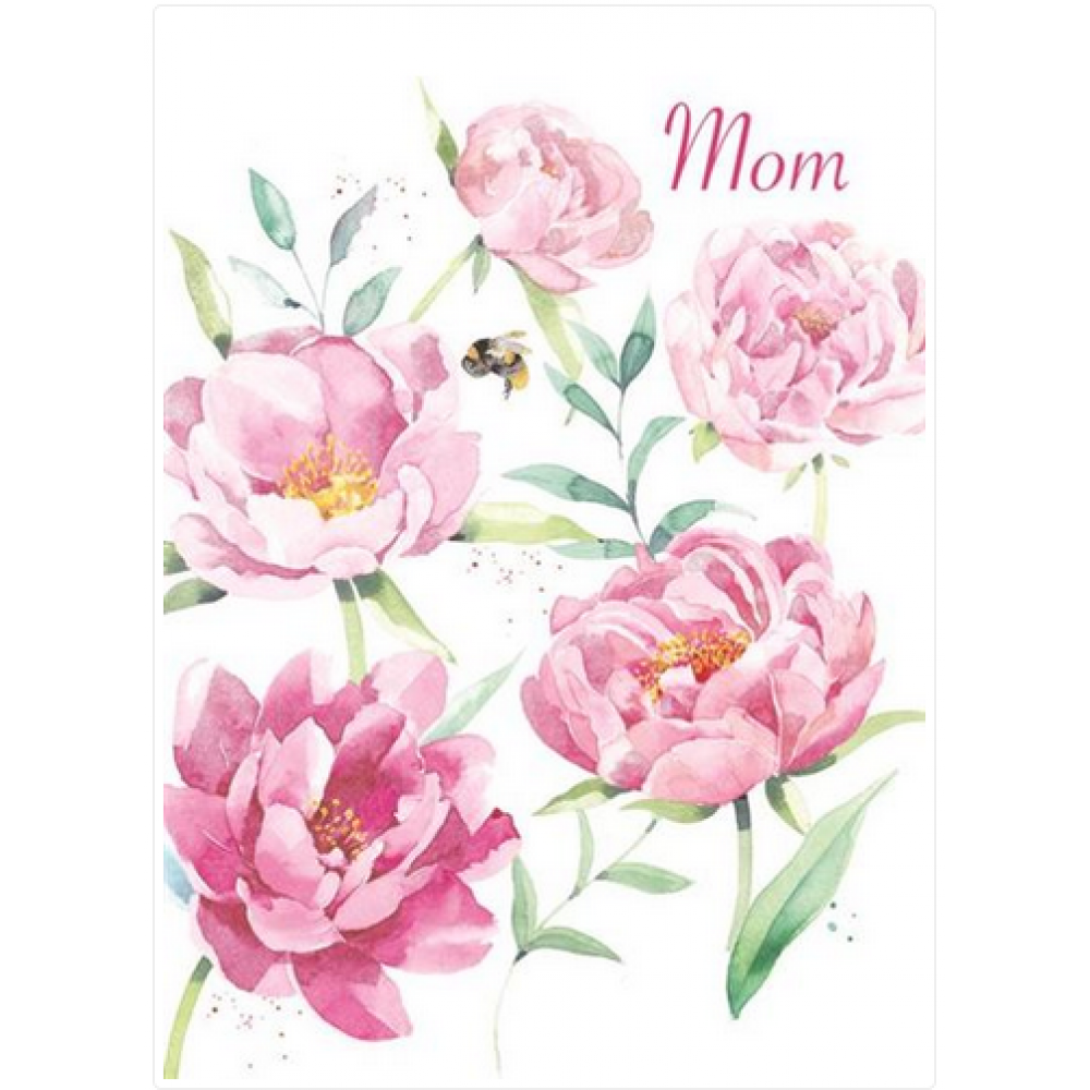 Mothers Day - Large Pink Flowers and Bee