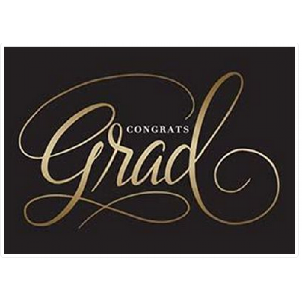 Graduation - Black Background Gold Grad