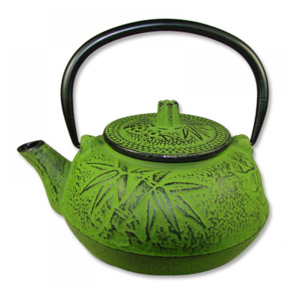 Iron Teapot w/Filter, Plum & Bamboo Design, Green, Iron