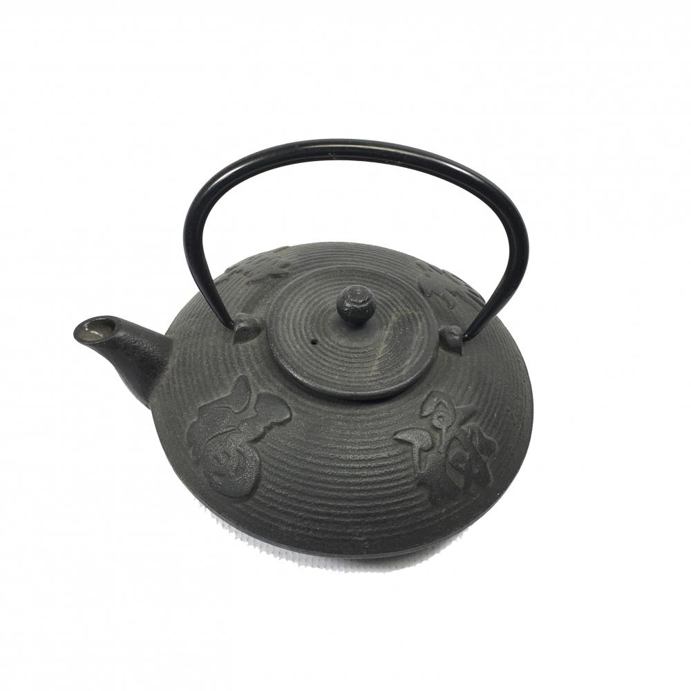 Iron Teapot w/Filter, Plum & Bamboo Design, Green, Iron
