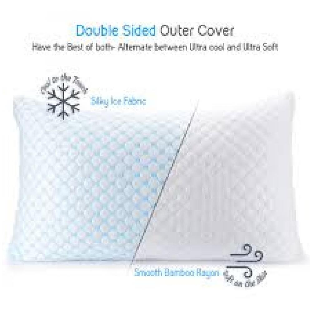 Bed Pillow Cooling Gel Reversible To Memory Foam Queen/Standard Size
