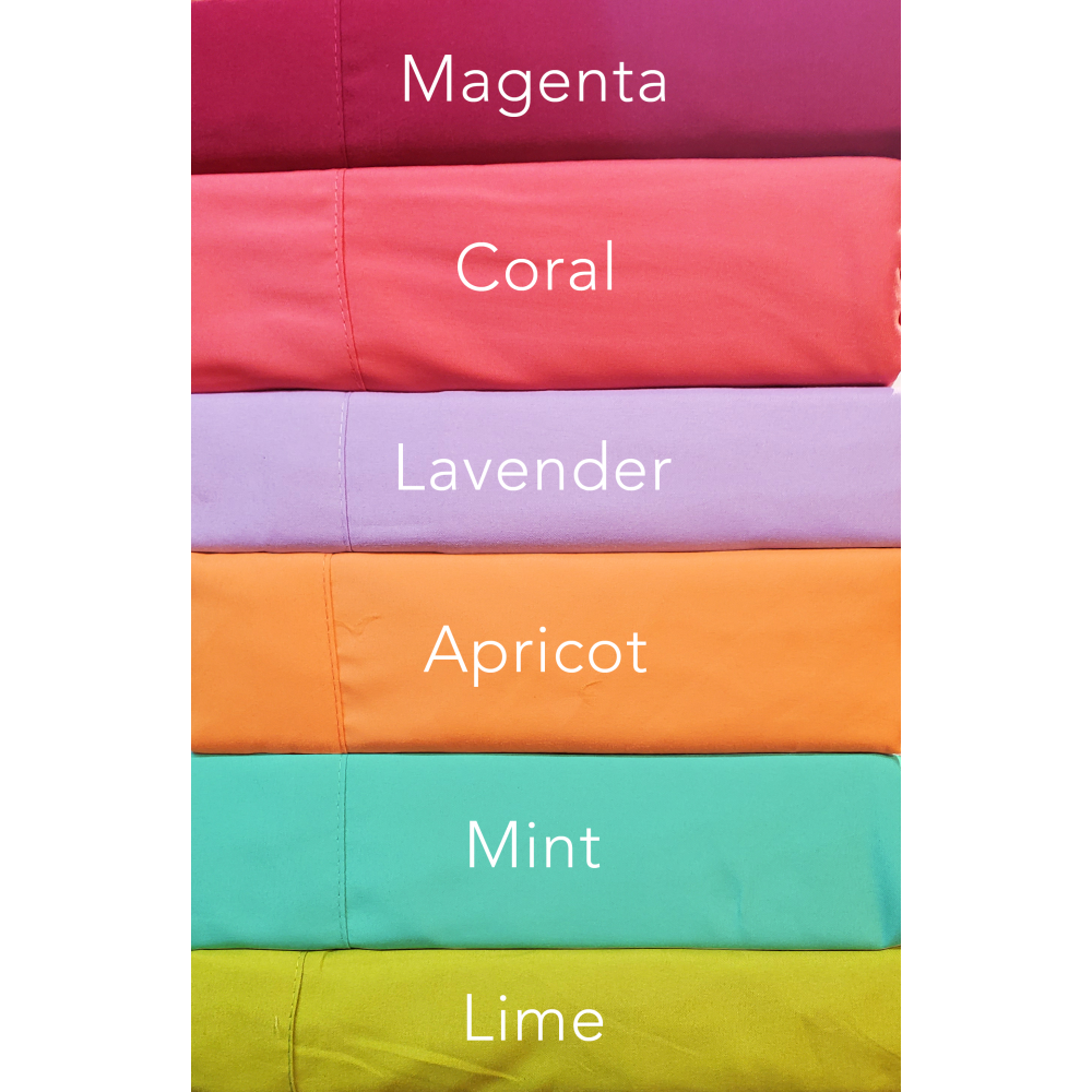Pillowcases Set of 2 Standard Queen Size 1800 Series Bright Colors Magenta, Coral, Lavender, Apricot, Mint and Lime
