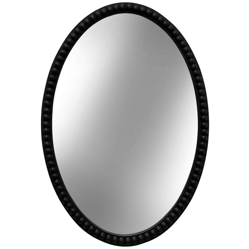 Mirror Oval Wooden Beaded Black 25in x 17in