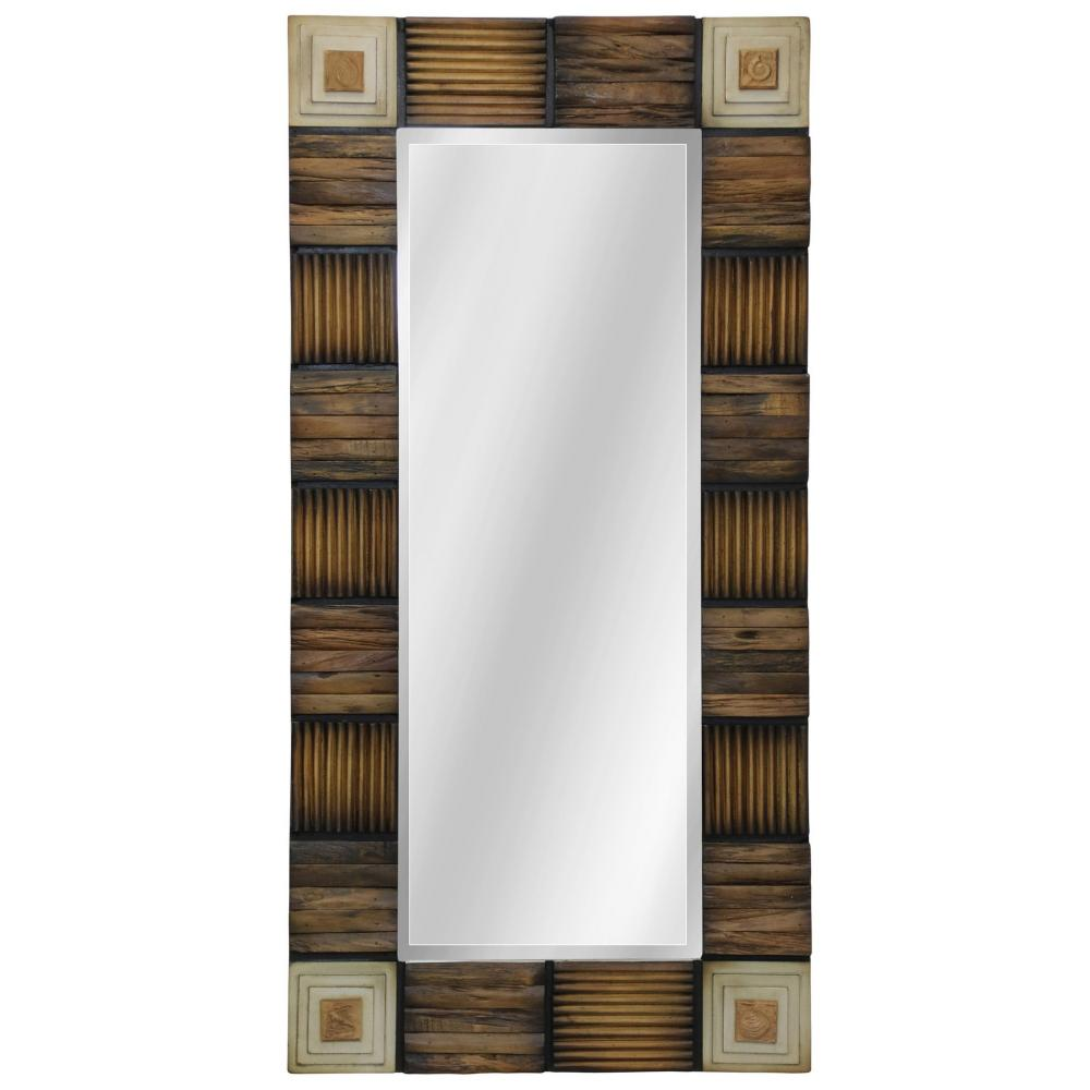 Mirror Natural Wood with Resin Embellishments 48in x 24in