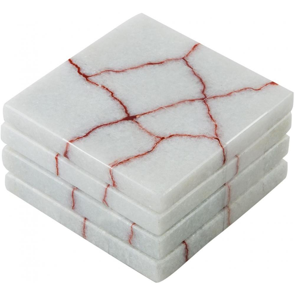 Coasters white with red crackle