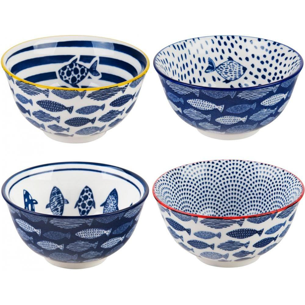 Bowls Assorted Fish Blue & White