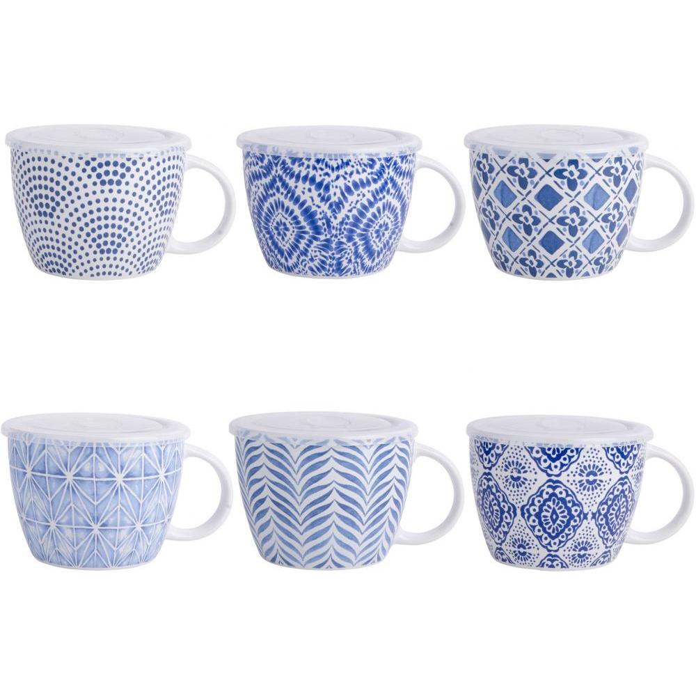 Mugs 24 Oz Assorted Blue & White