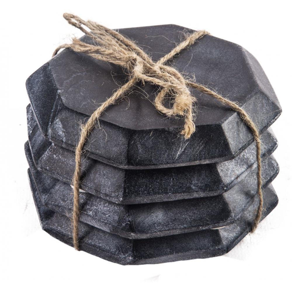 Coasters Black Octagonal Marble