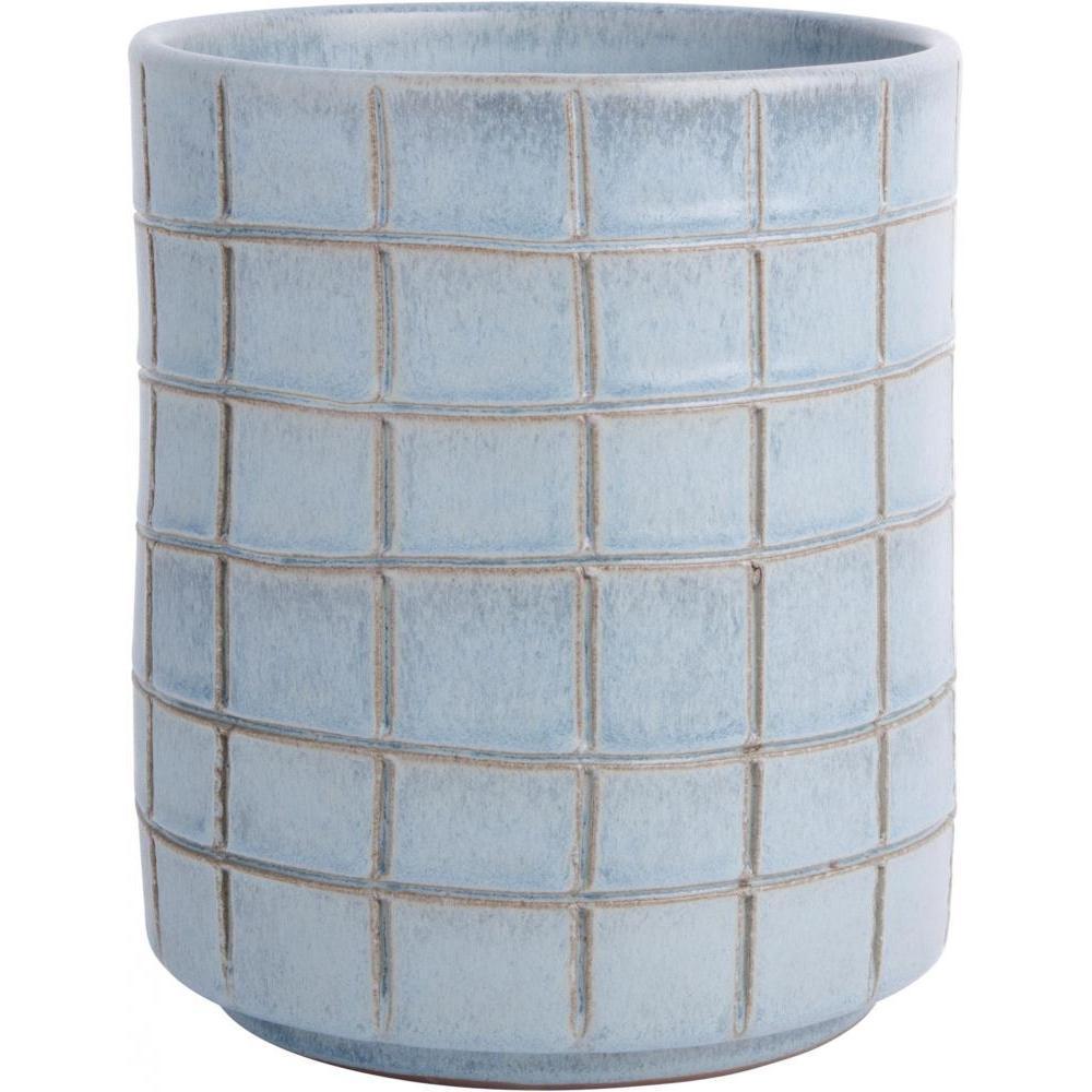 Aqua Scratch Squares Utensil Crock