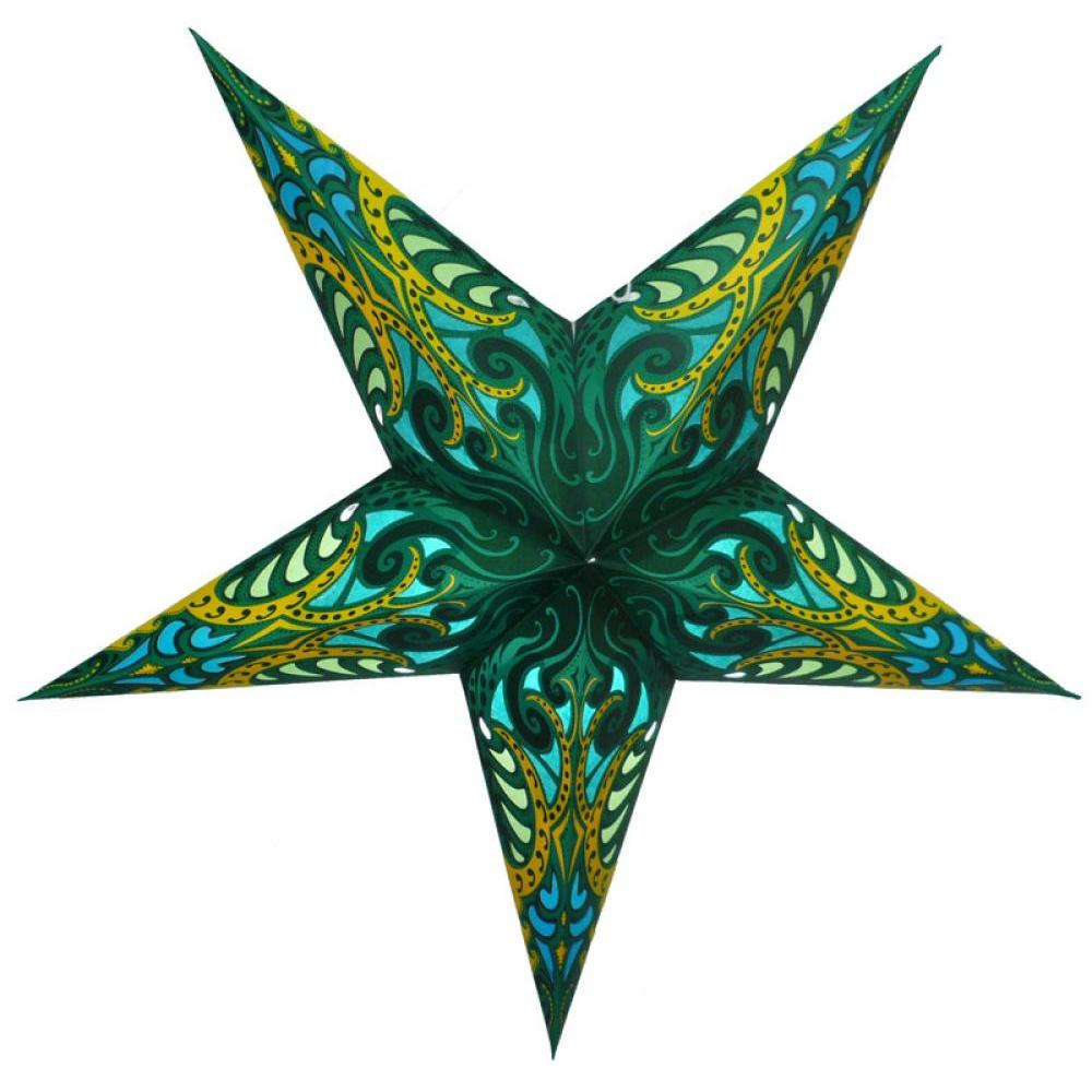 Star Lantern Green Splash 24in