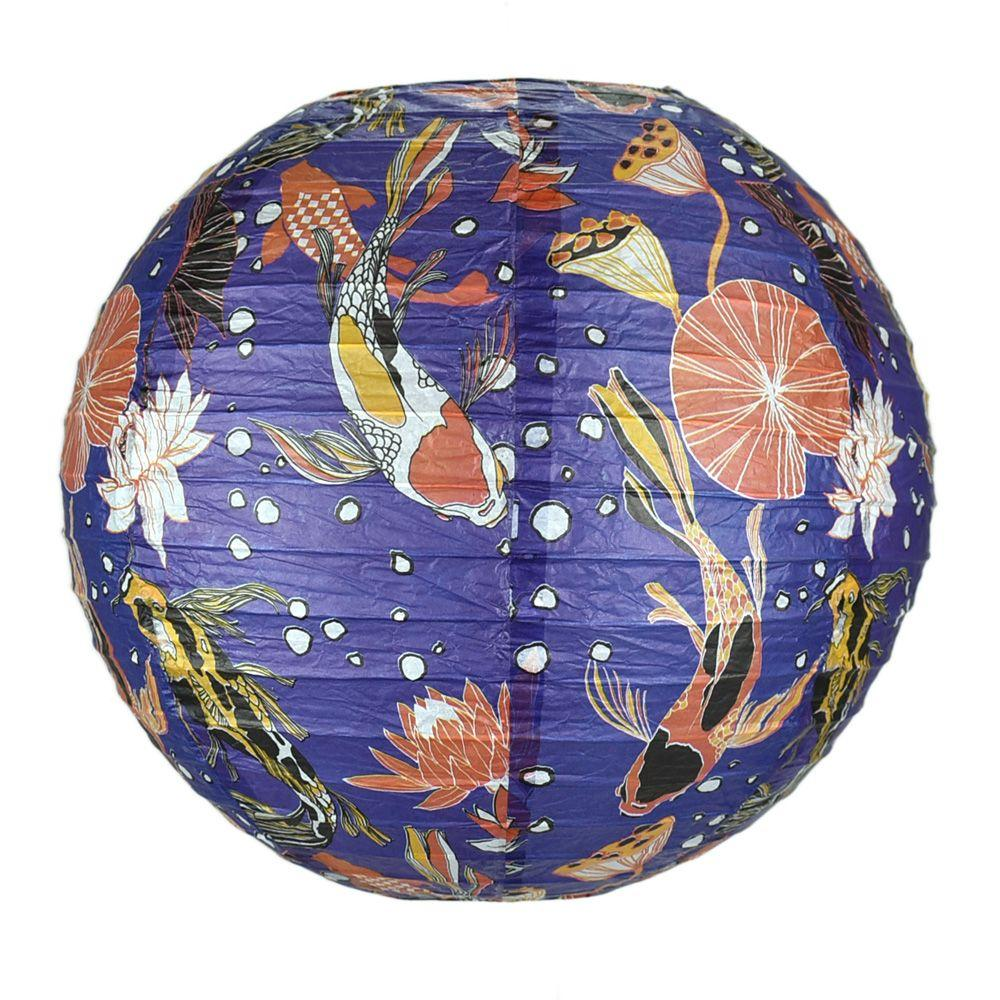 Paper Lantern 14in Regular Rib Pattern Midnight Koi Pond