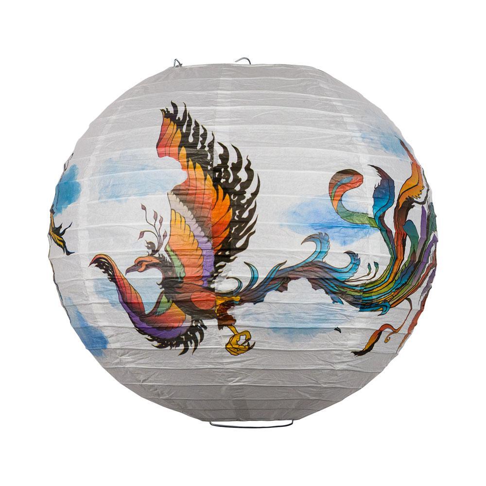 Paper Lantern 14in Regular Rib Pattern Flying Phoenix