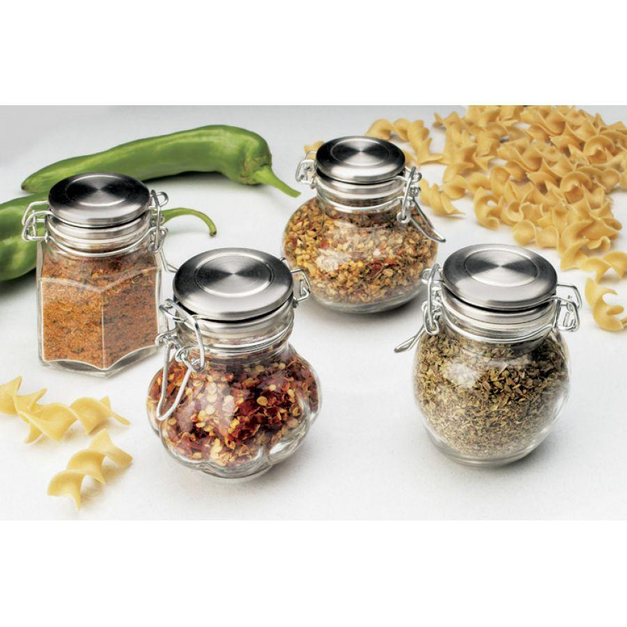 Spice Jar Glass Wire-clasp Meloni Garlic-ribbed Stainless Steel Top 4oz