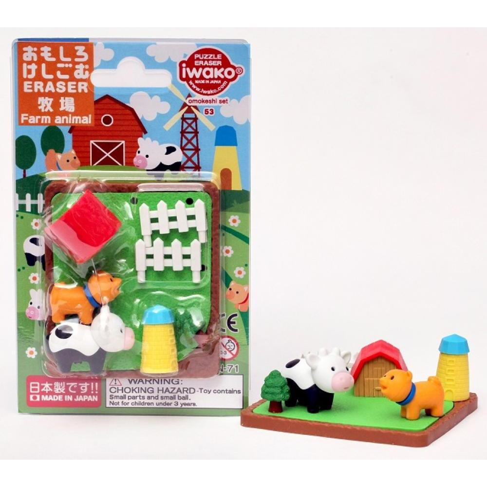 Carded Eraser Set Farm Animals