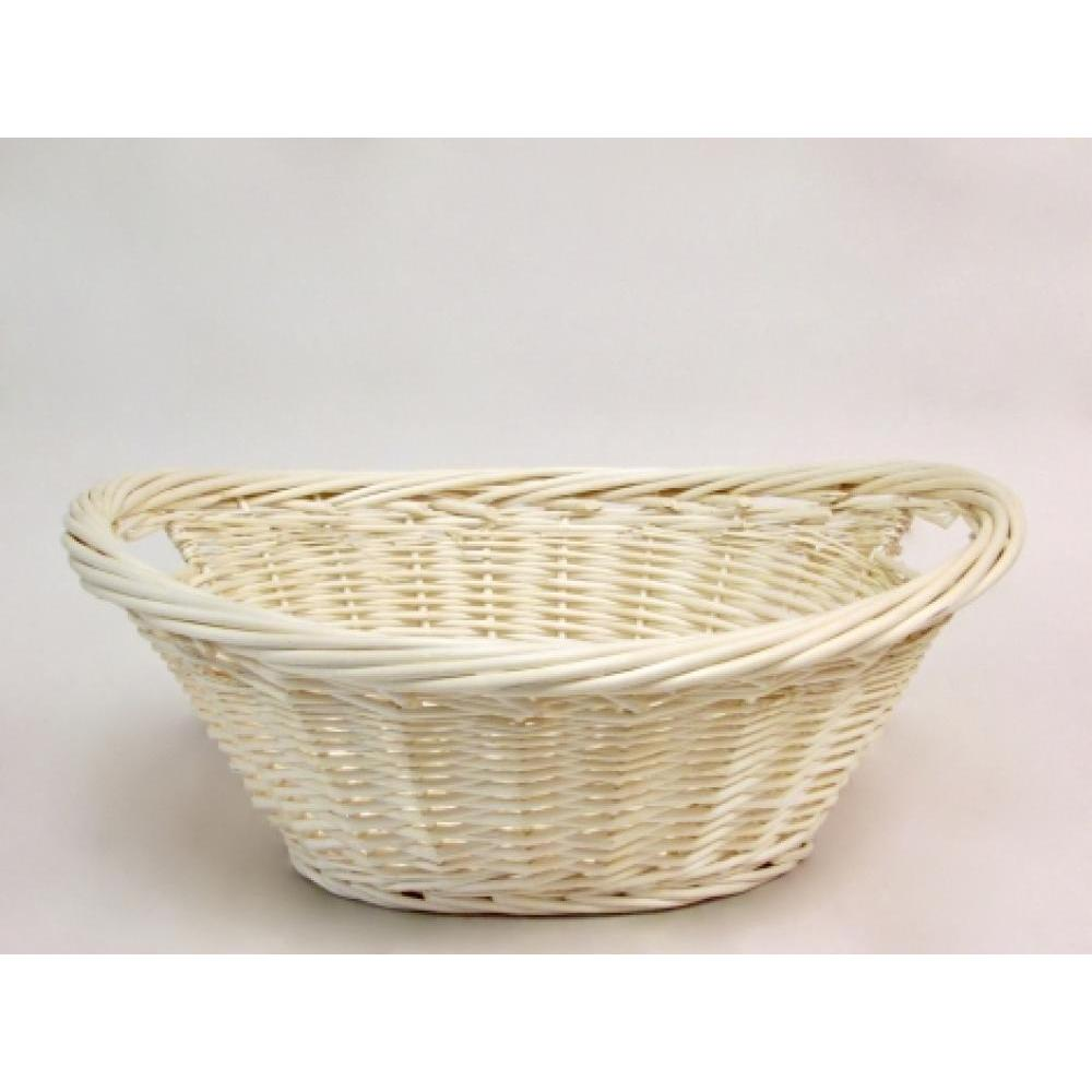 Natural willow medium oval/boat tray with inside handles and thick twister rim