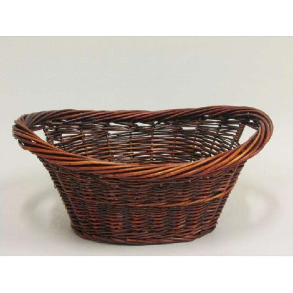 Stained willow medium oval/boat tray with inside handles and thick twisted rim