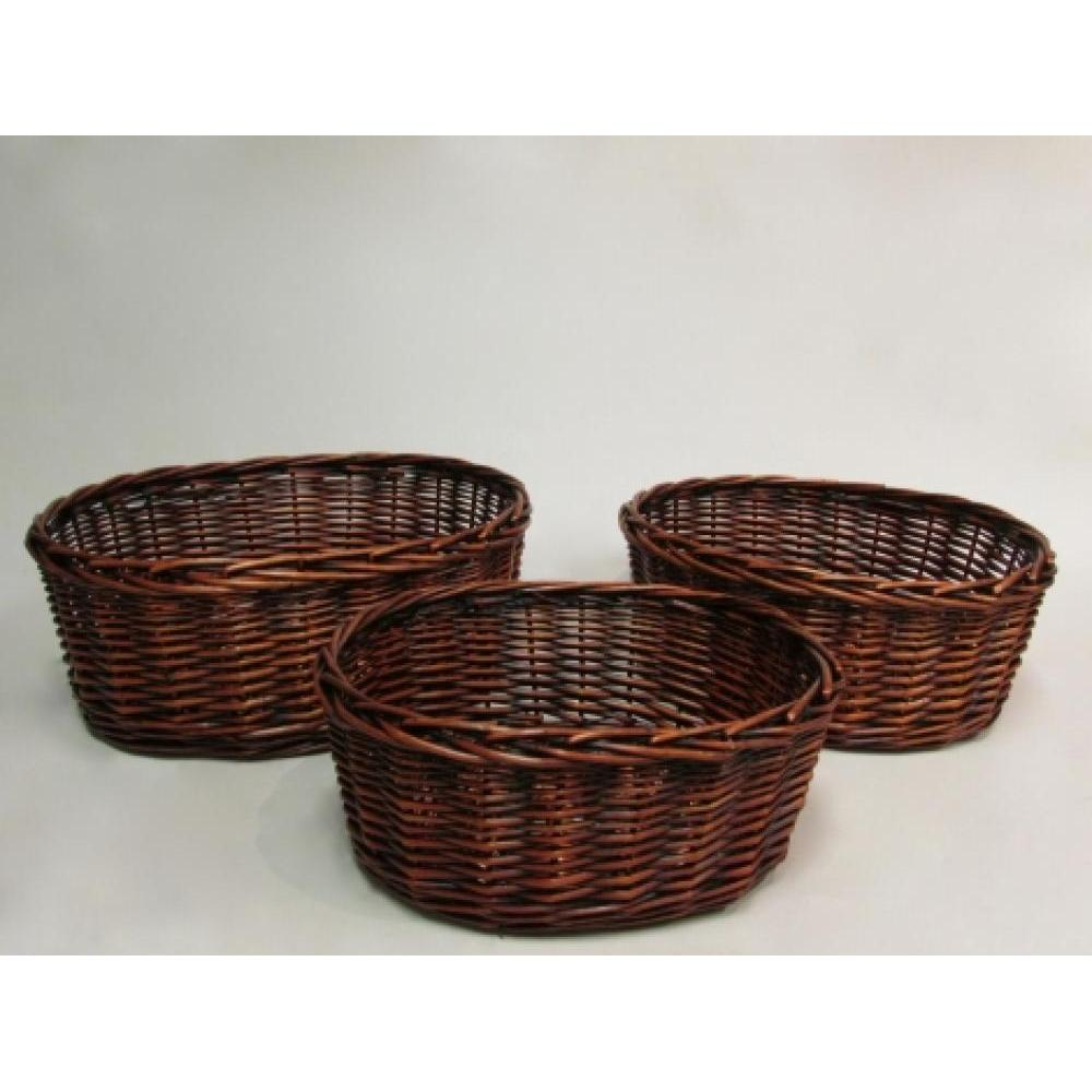 Stained willow oval tray with heavey braided rim