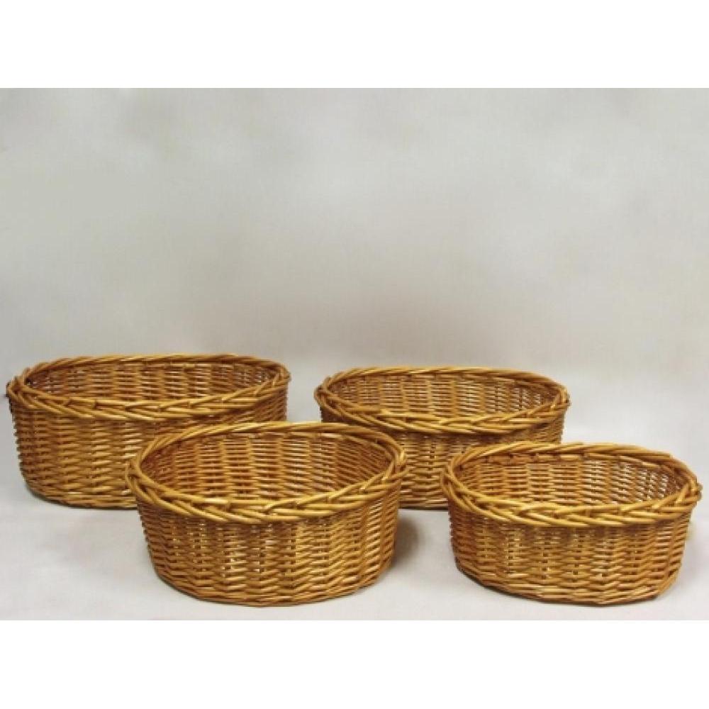 Honey willow oval tray with heavey braided rim