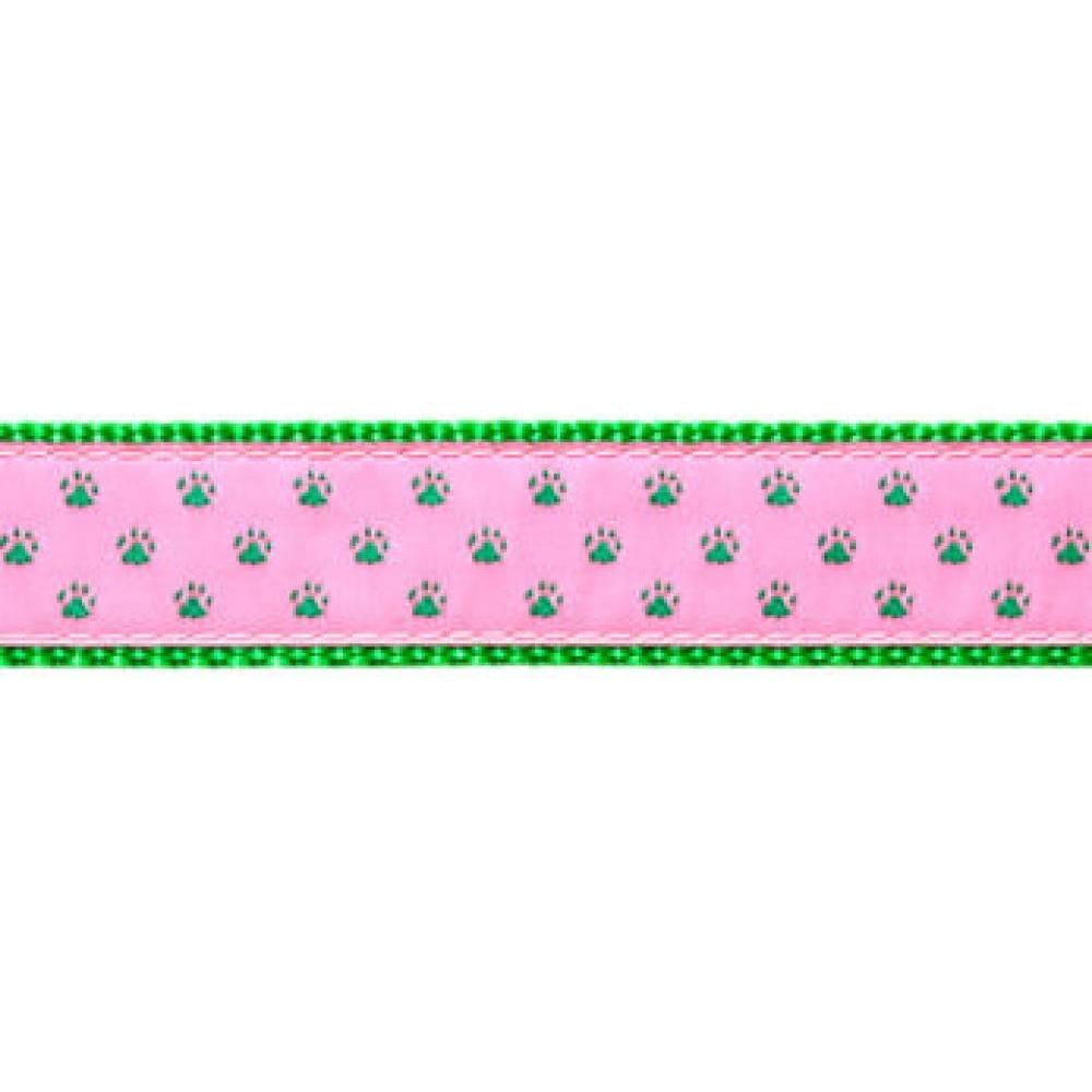 Dog Collar 11-18in  Green Paw Print