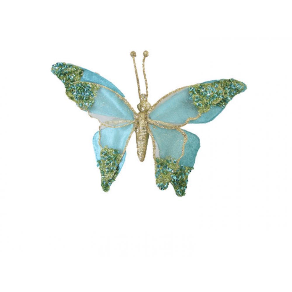 Ornament - 7in Velvet Sequin Butterfly Clip