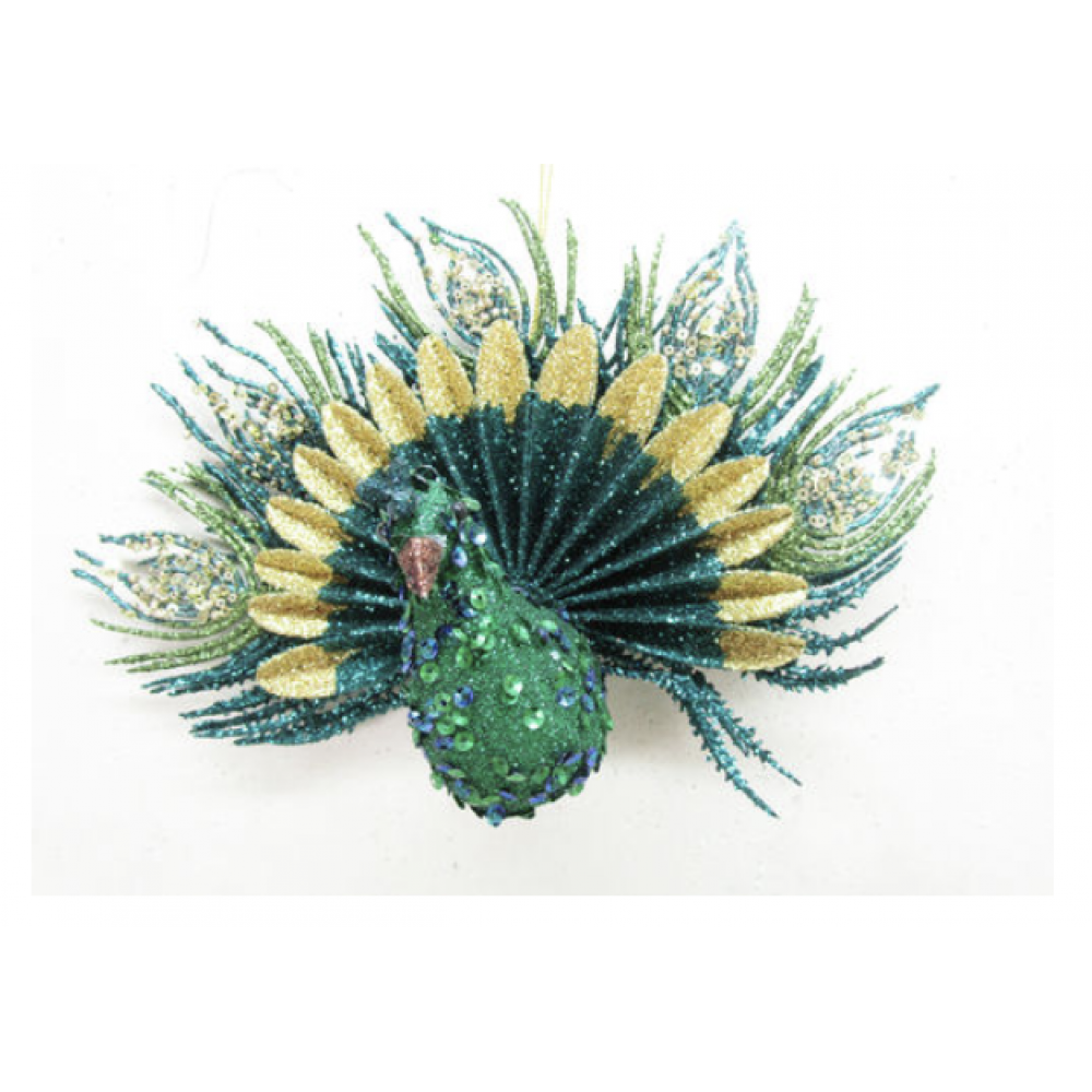 Ornament - 9in Sequin Peacock