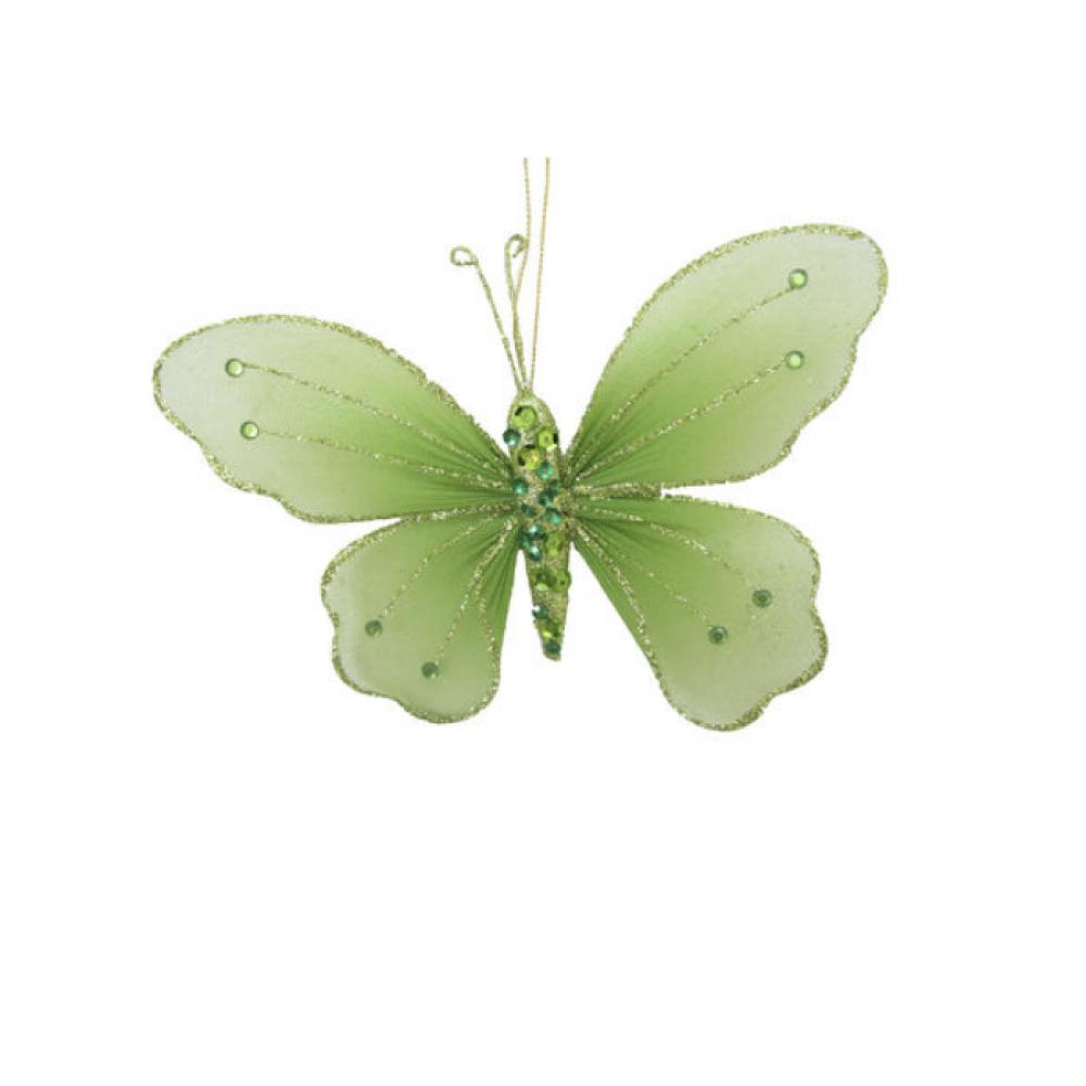 Ornament - 7.5in Green Butterfly