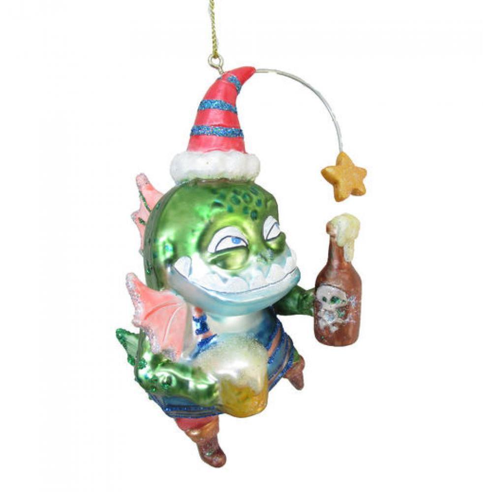 Ornament - 5\' Pirate Fish w/ Bottle