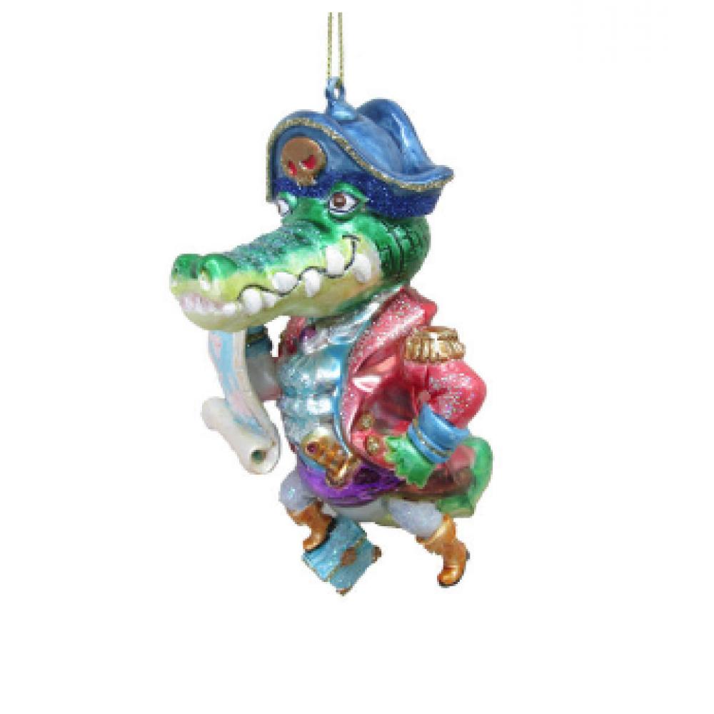 Ornament - 4.25\' Pirate Crocodile w/ Map