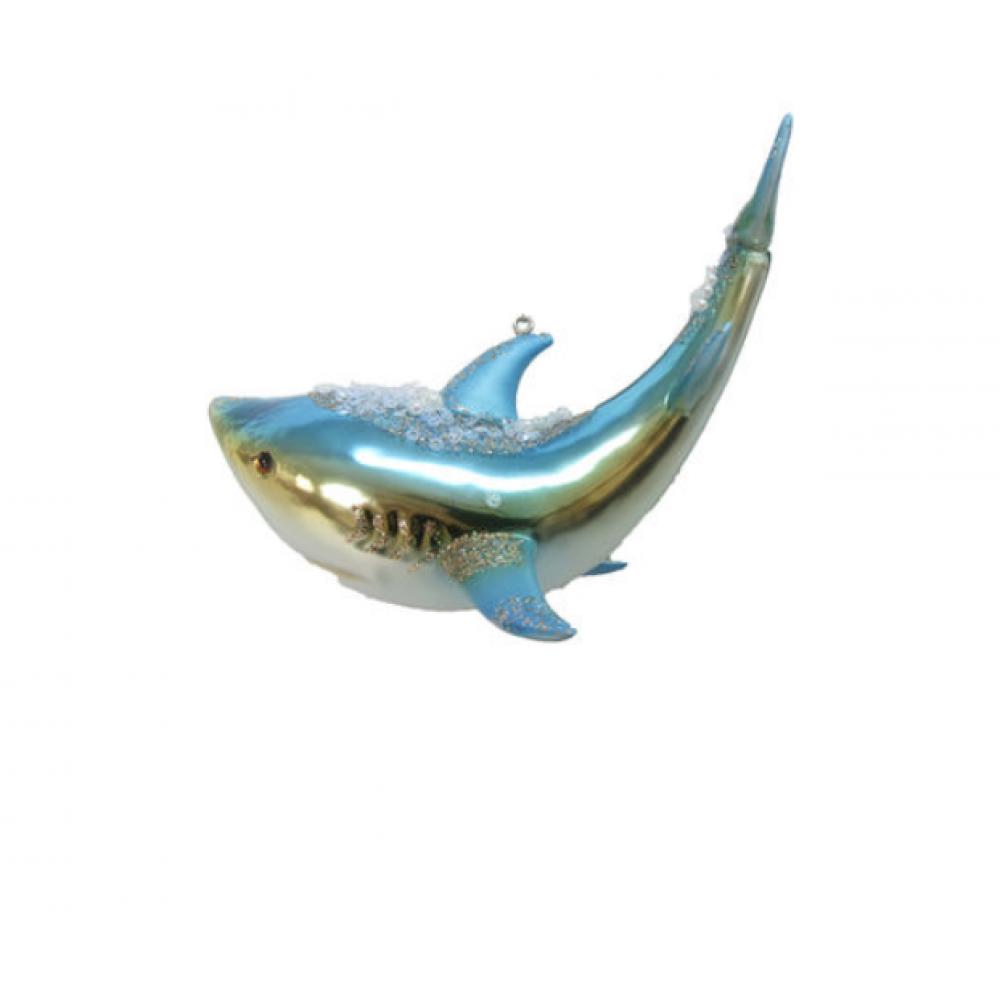 Ornament - Glass Shark w/ Jewels