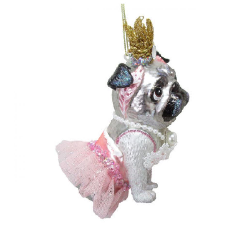 Ornament - 5in Pug as Princess