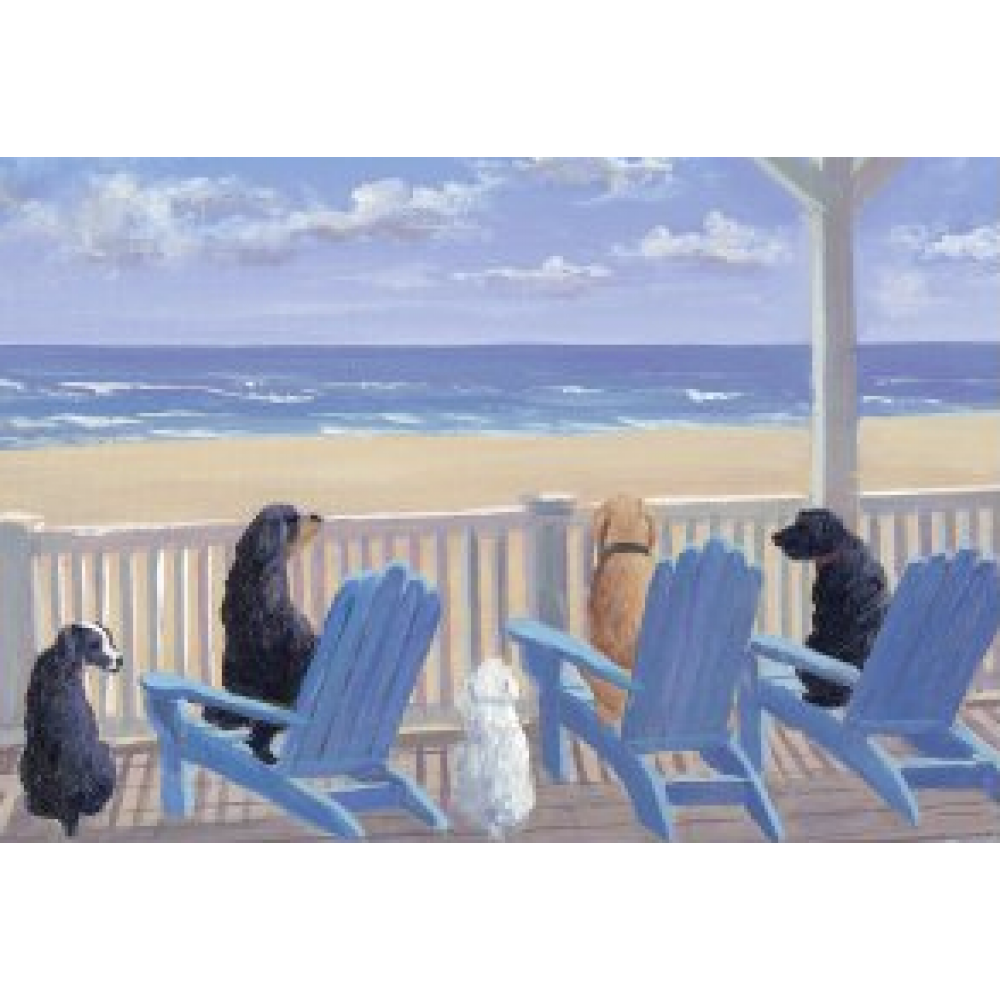 Boxed Card Dogs in Deck Chairs