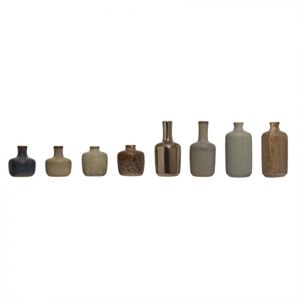 Vase Reactive Glaze Earthtones Set of 8 Assorted Sold Each Sm $4.99 Lg $6.99