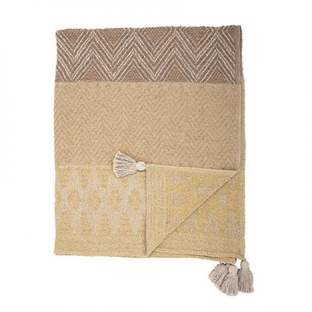 Throw Blanket Cotton Blend Textured Mustard with Tassels