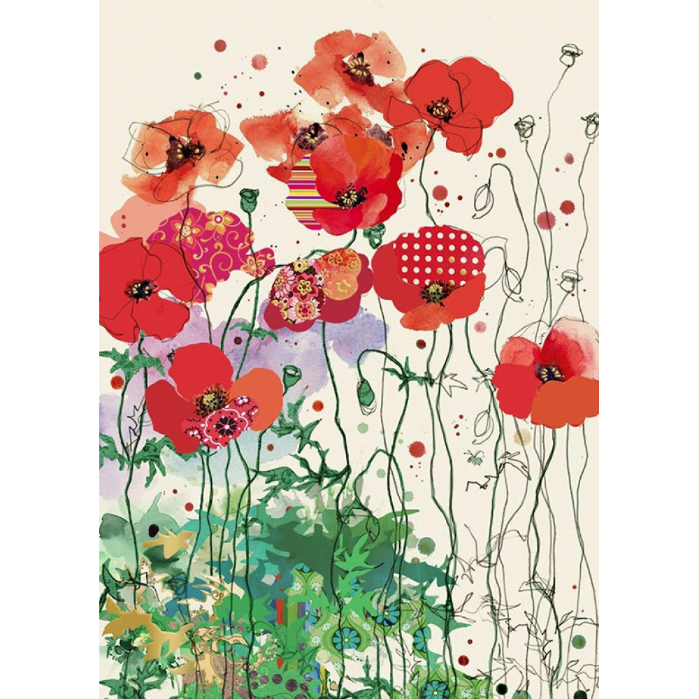 any occasion - bug art - red poppies