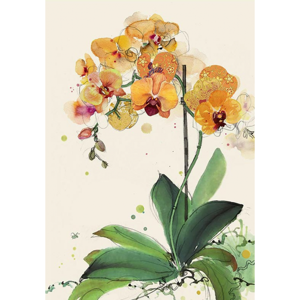 Any occasion - bug art - orange orchids