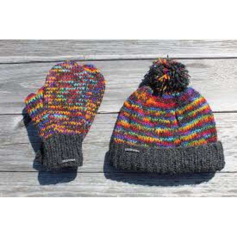 Khumjung Hat - Sheep Wool with Polyester Fleece Lining - Rainbow