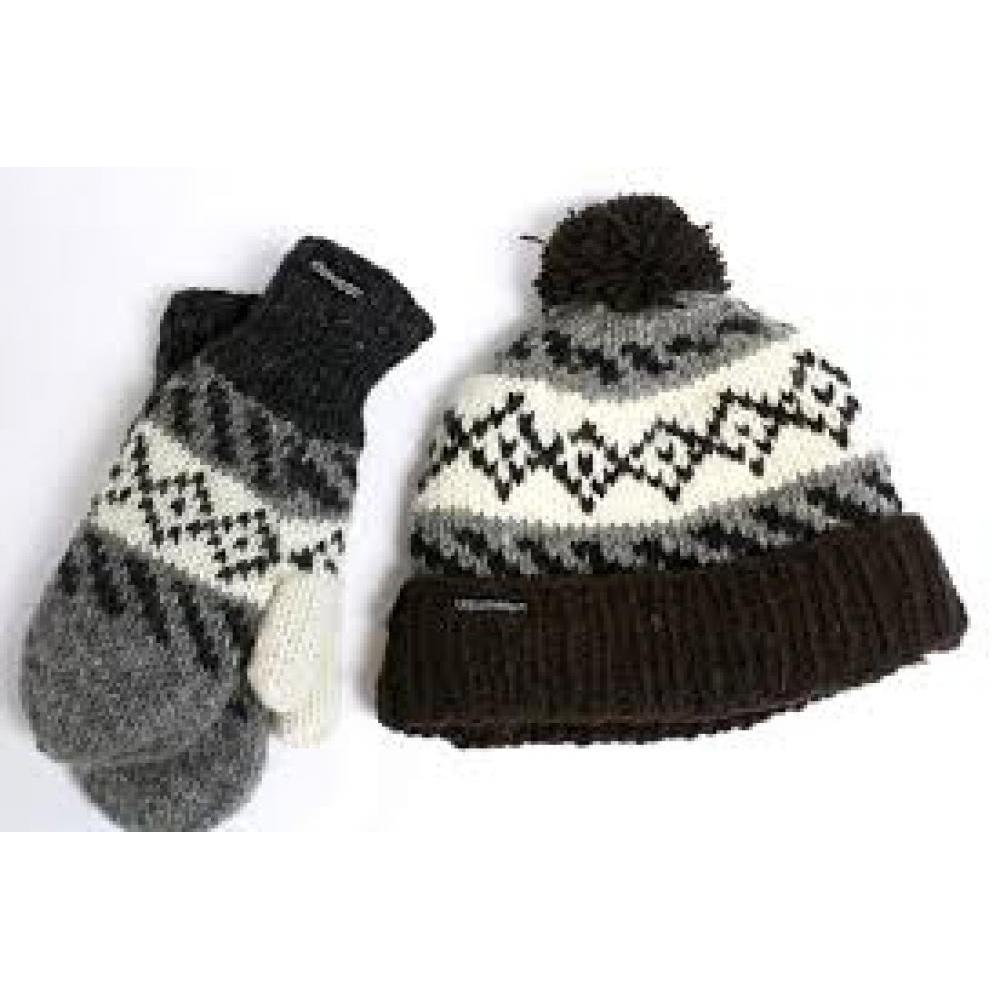 Khumbu Hat - Sheep Wool with Polyester Fleece Lining - Black and White