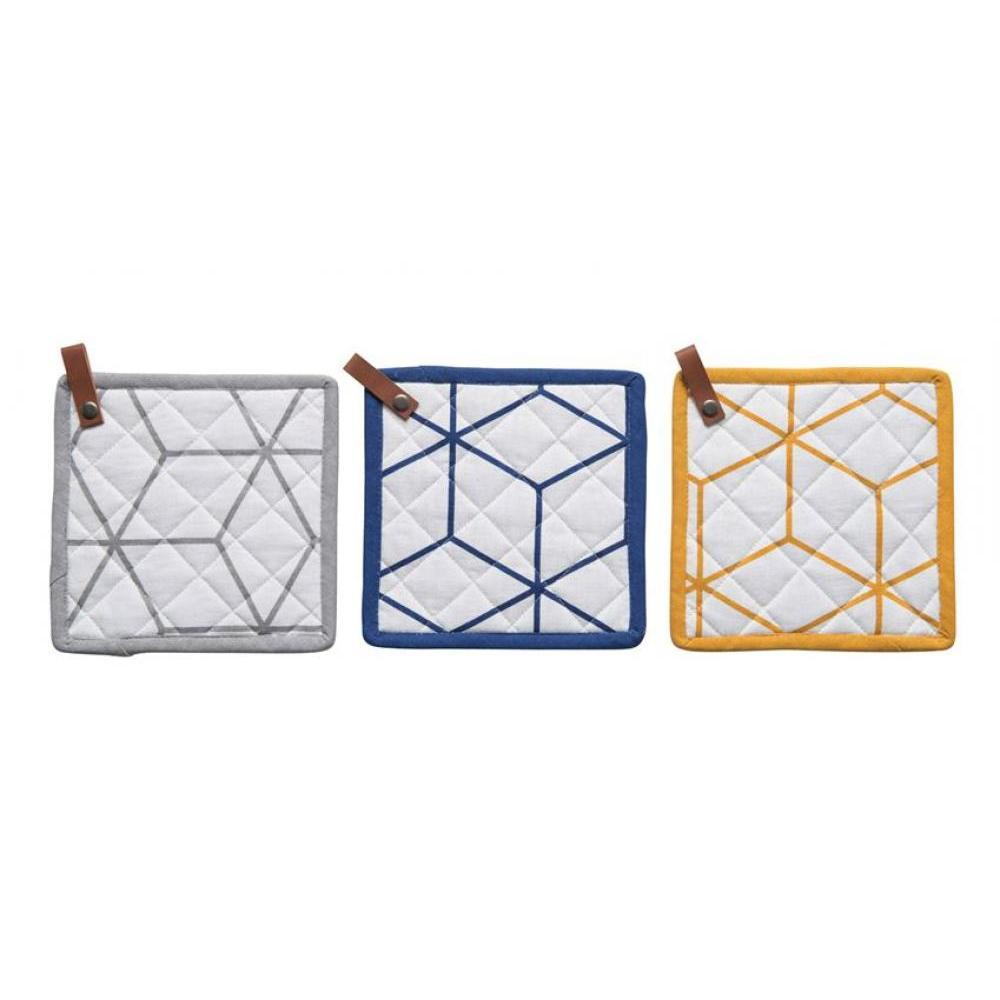 Pot Holder White with Diamond Geometric Design 3 Colors Available