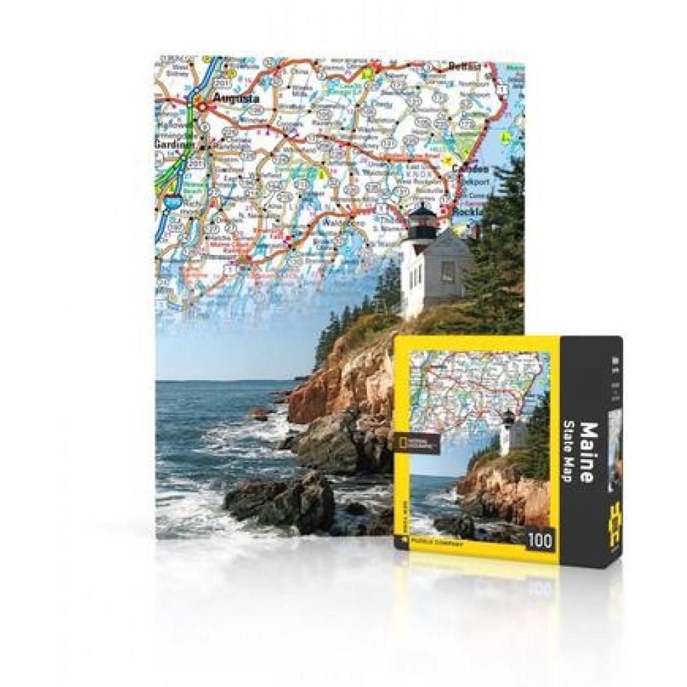 National Geographic Mini Puzzle 100 Piece Maine State Map