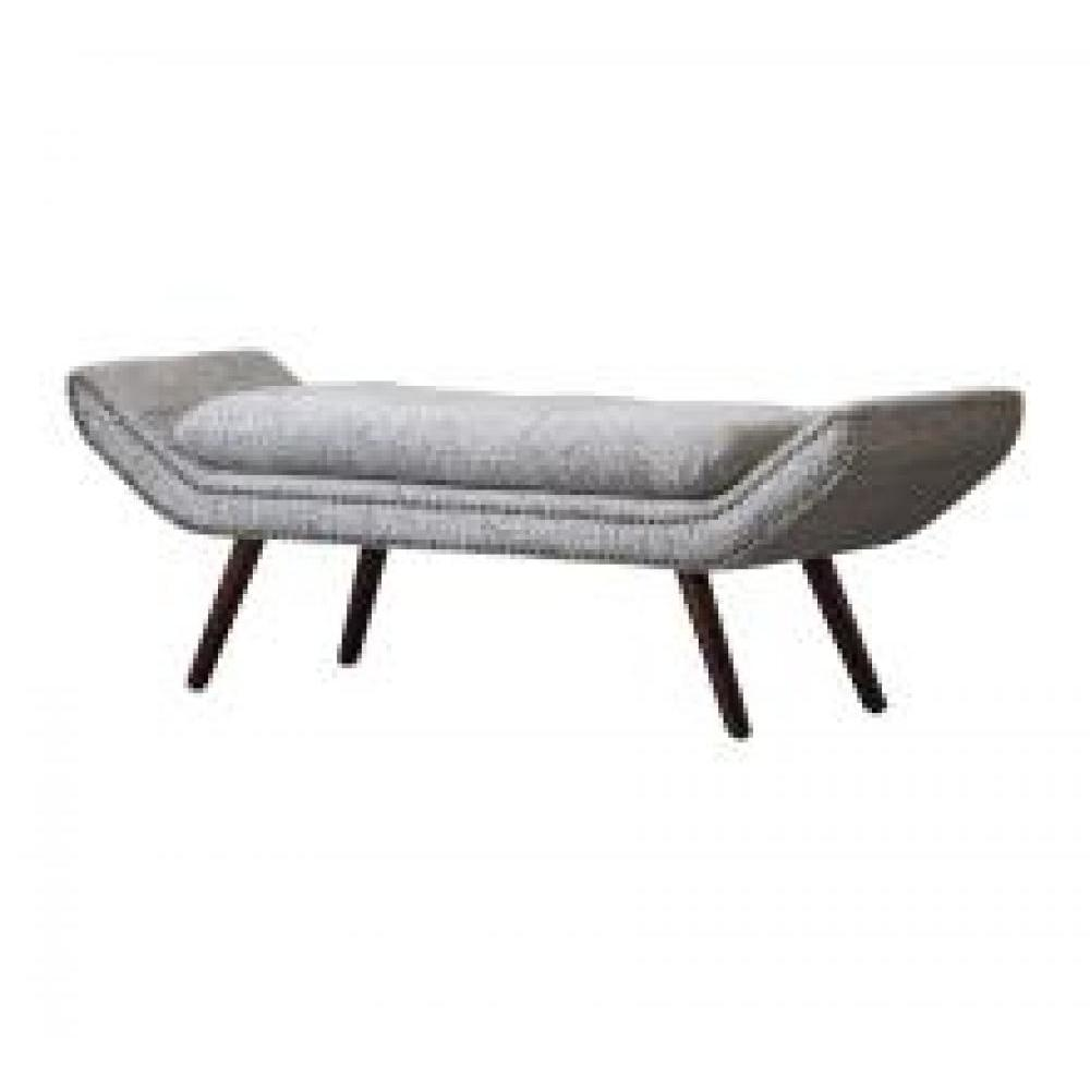 Newcastle Nailhead Tufted Bench Drizzle Gray