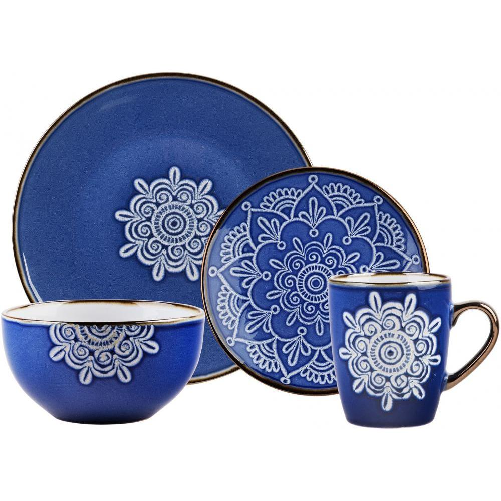 Blue Medallion Dinnerware 16 Piece Set