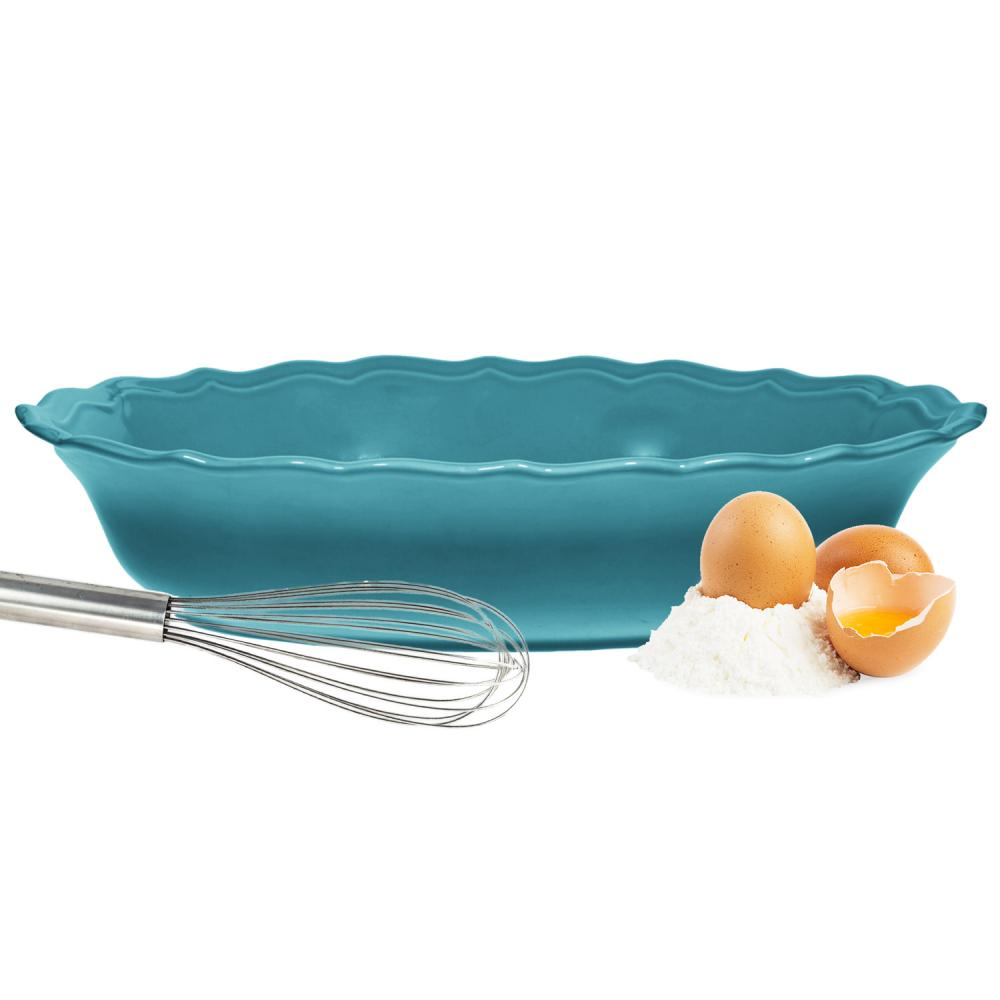 Baking Dish Oval Fluted Edge 2.5 Quart  Blue 14.25in Long
