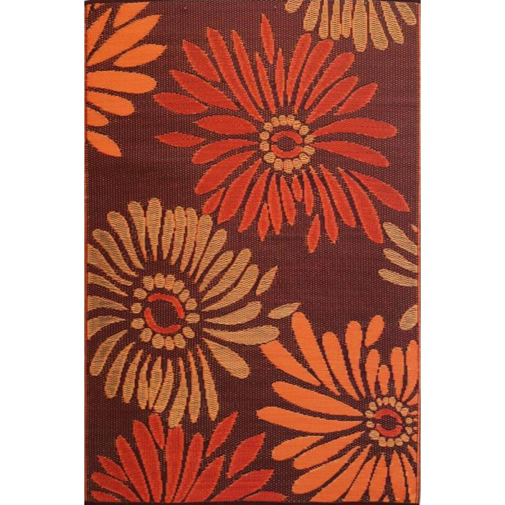 Mad Mats 5x8 Floral Daisy Rust