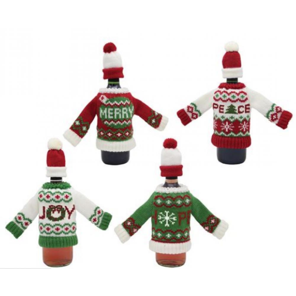 Bottle Holder - Joy- Merry-Peace-Hope Sweaters