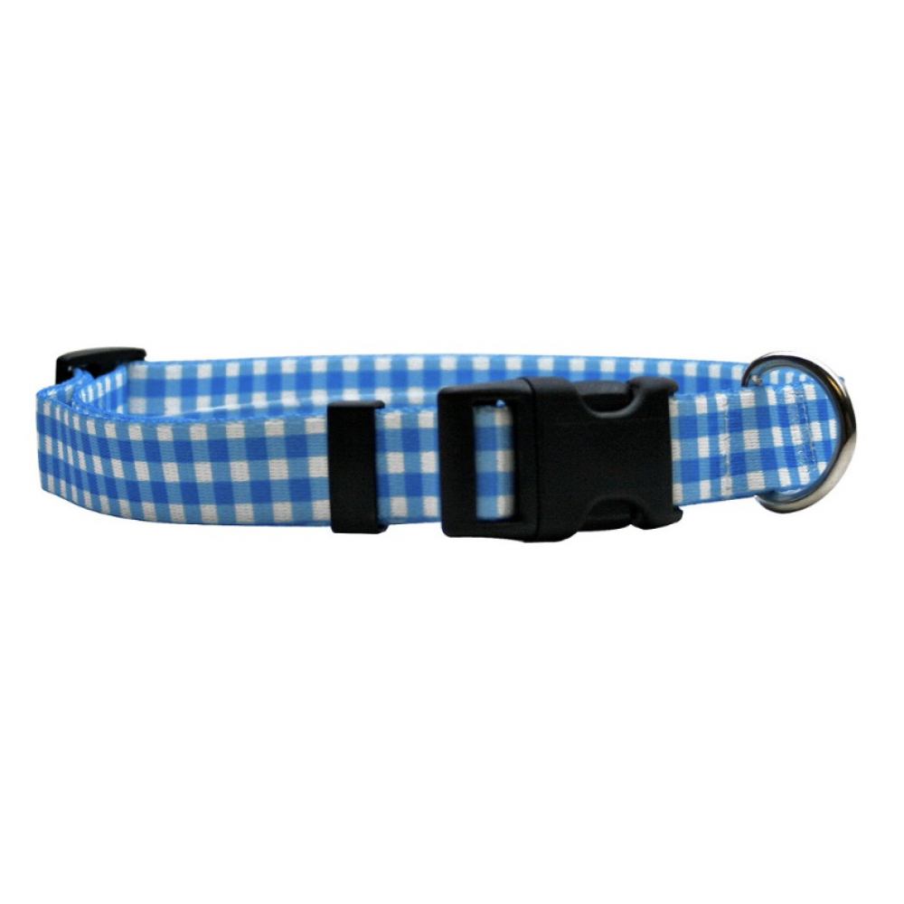 Dog Collar 1in wide Large 18inch-28inch Gingham Blue