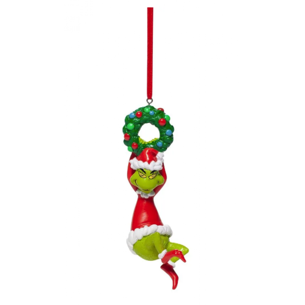 Ornament - Grinch Hanging on Wreath