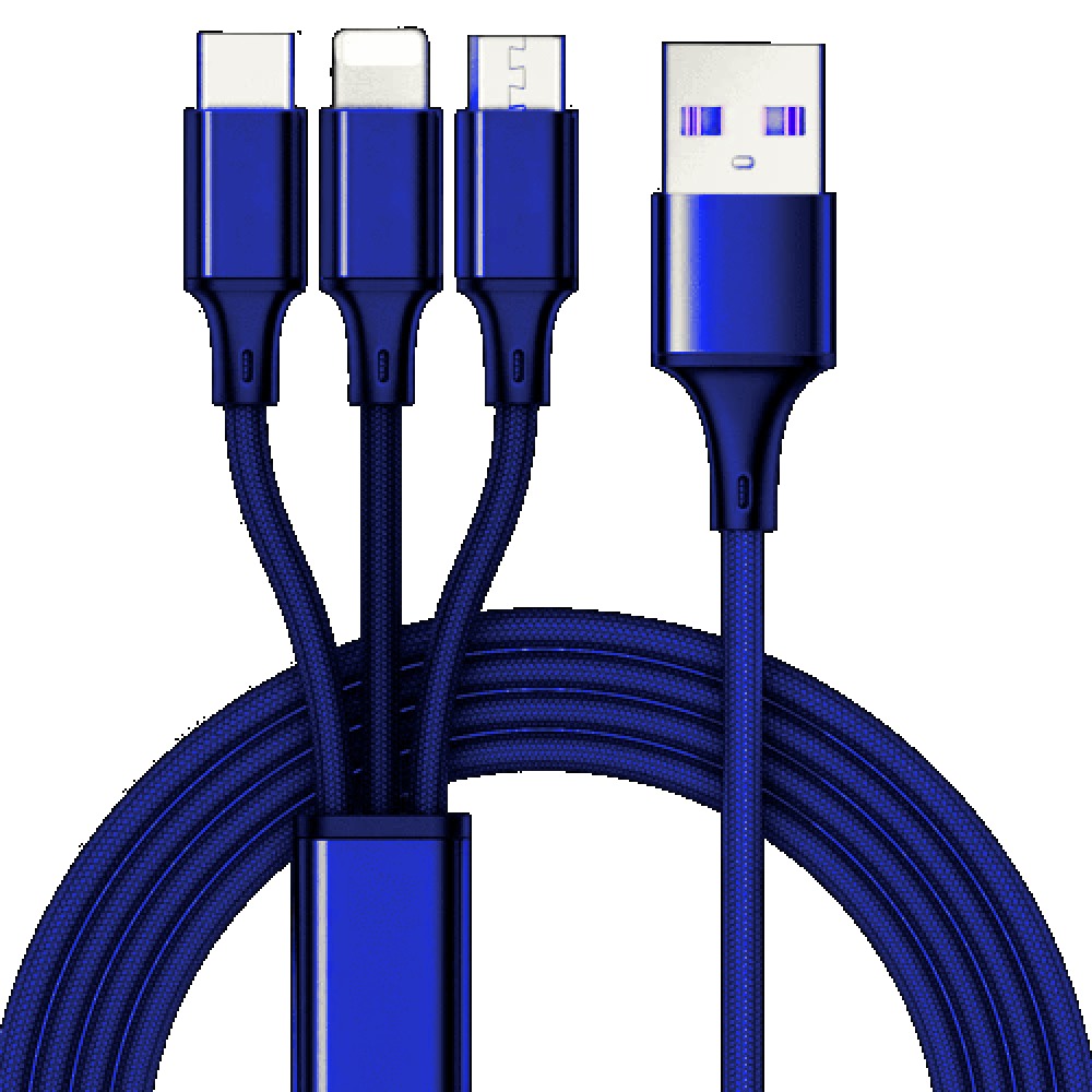 3 in 1 charging cable 10ft Blue